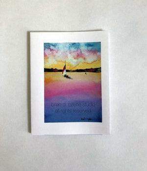 item LS51 Ocean scene sail boat watercolor print card