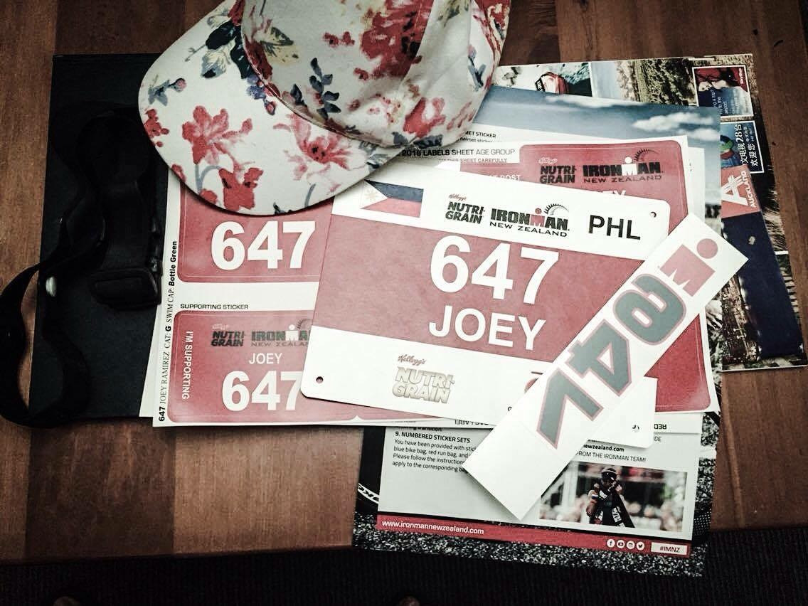 Joey's race tags with my mom-in-law's floral cap. Haha!