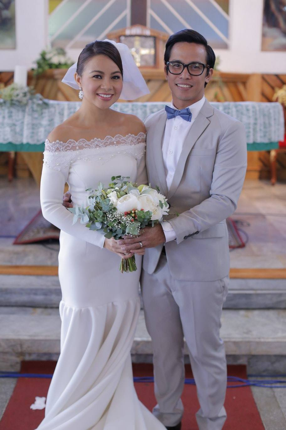 Joey and I both wearing Rian Fernandez for our church ceremony. <3