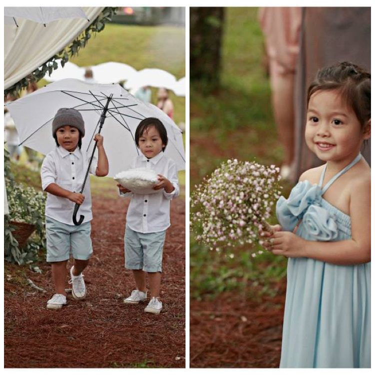 Our bearers in outfits my stylist John bought and put together from SM, hihi :D and our flower girl Talia in Tata Galias. :)