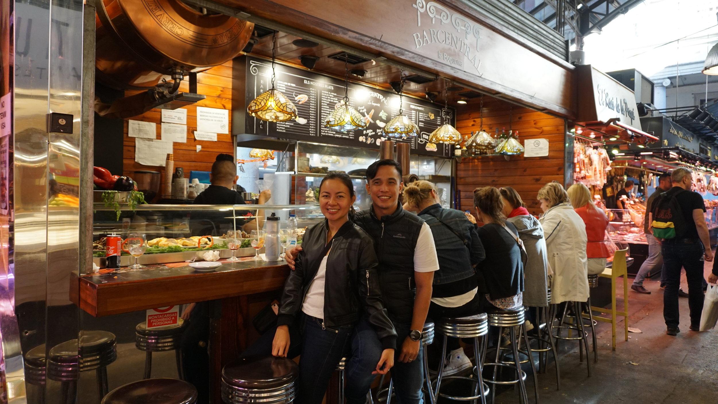 La Boqueria for second lunch in Barcelona! Yum!