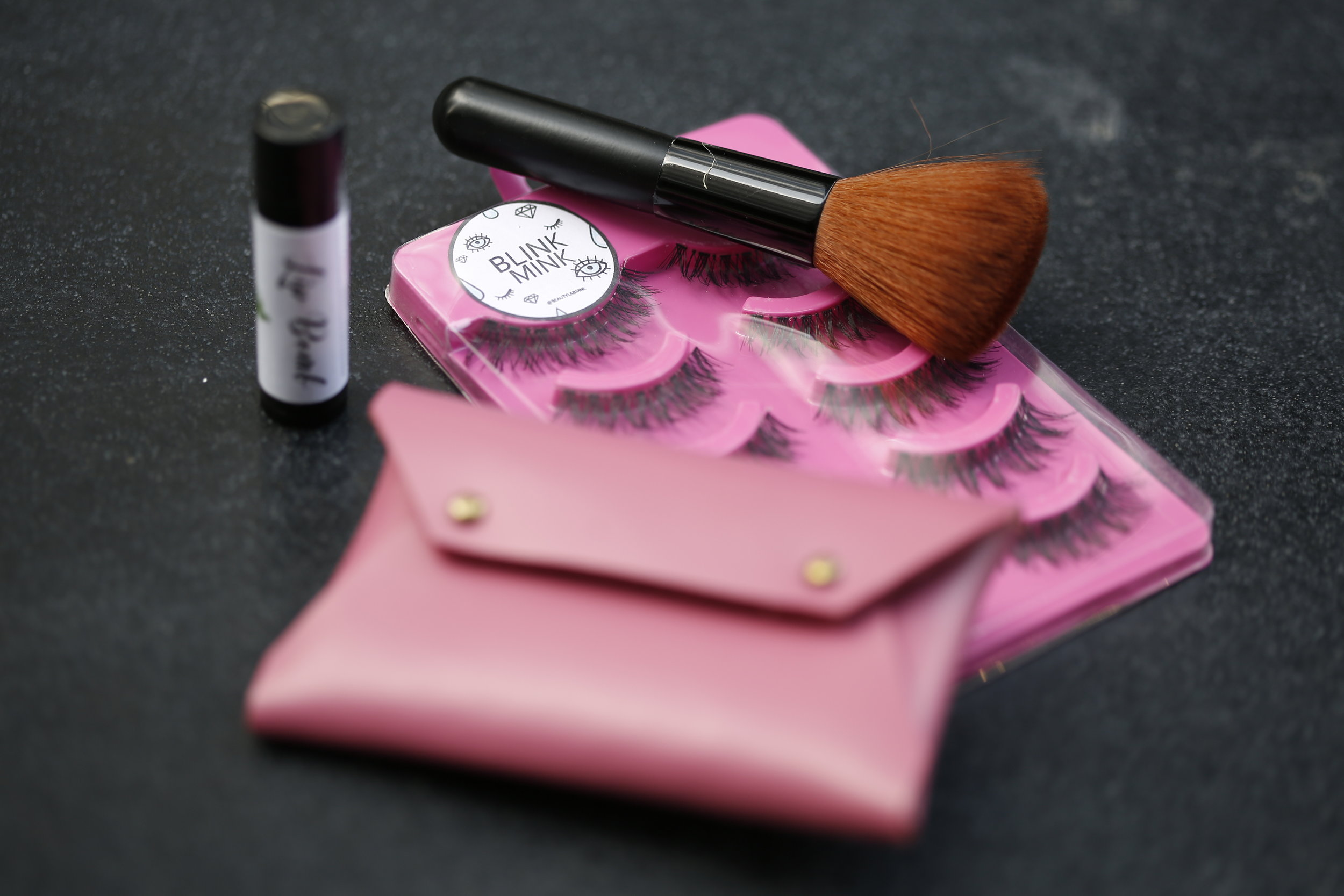 Beauty goodies from Beauty Lab Mnl, a kabuki brush from BYS Philippines, and a Ni-qua leather pouch.