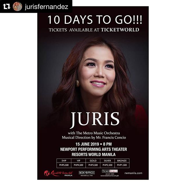 Excited for this!! I'm sure many of you will agree when I say that Juris is one of the most gifted and impeccable Filipino singers of all time ♡ happy 10th anniversary as a solo artist, Jujuju!! God bless you!! See you!! . #Repost @jurisfernandez ・・・ A friendly reminder to #metromusicorchestra, #kammerchormanila, #risband, our musical director @franceconcio and myself 😂😂😂 10 days to go and the celebration of my 10th year as a solo artist is happening at Newport Performing Arts Theater, Resorts World Manila 8pm #pleasebeontime with our  special guests, Jay Durias and Martin Nievera ♥️♥️♥️ ticketworld.com.ph and Resorts World Box Office 😊