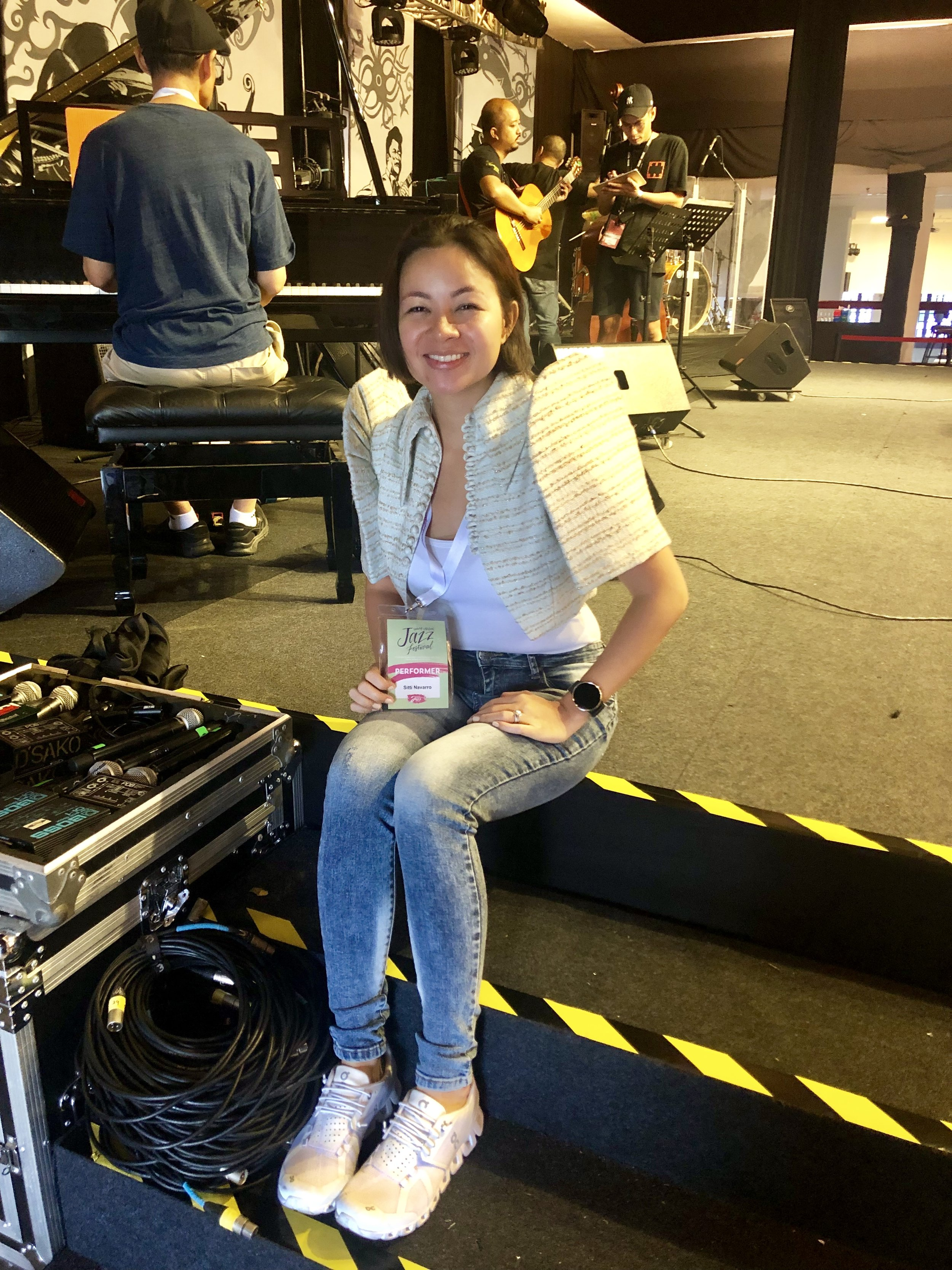 At soundcheck earlier. Praying that my voice will come out tonight. Been sick the past few days.  Si  Lord  na bahala .