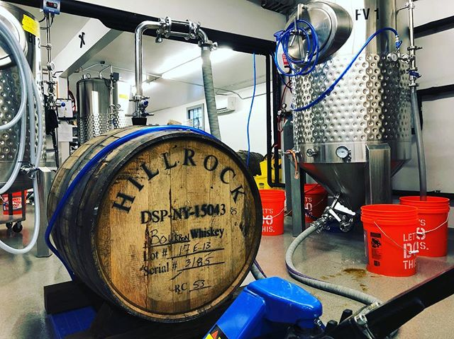 Filling up bourbon barrels this week! Imperial Stout, Porter and Rye IPA should be ready in about 4-6 months #tinbridgebrewing #bourbonbarrelaged #craftbeer #hillrockdistillery