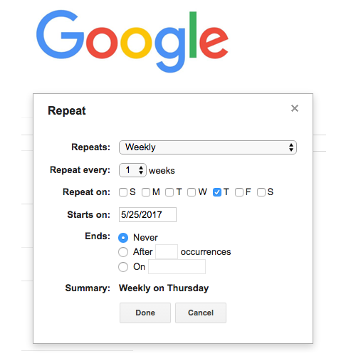 - We looked to Google Calendar for reference on repeat frequency functionality. We looked at how Google repeats a calendar event to assist in how to let the user set the frequency of an item's maintenance schedule.