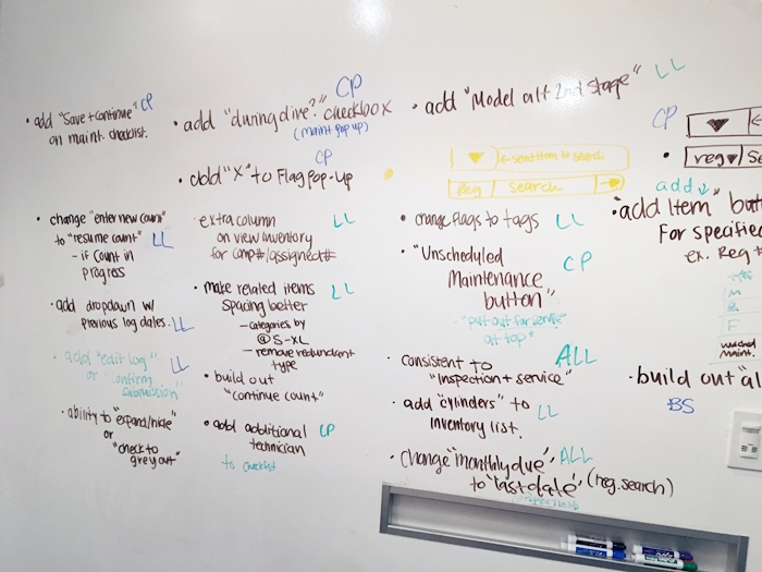Iteration - After each round of testing, our team took to the whiteboard to synthesize our results (affinity mapping style sans post-its). I translated my testing notes and observations into bullet points. Note: if you run out of whiteboard space, you can use the glass walls.