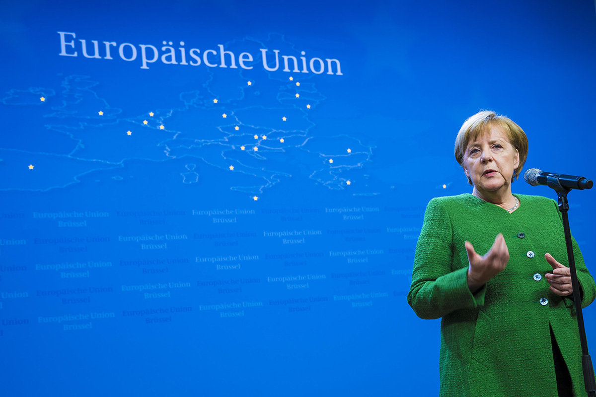 Bundeskanzlerin Angela Merkel gibt nach Abschluss des informellen Rats im deutschen Briefingraum im Justus Lipsius Gebäude in Brüssel ein Pressestatement.