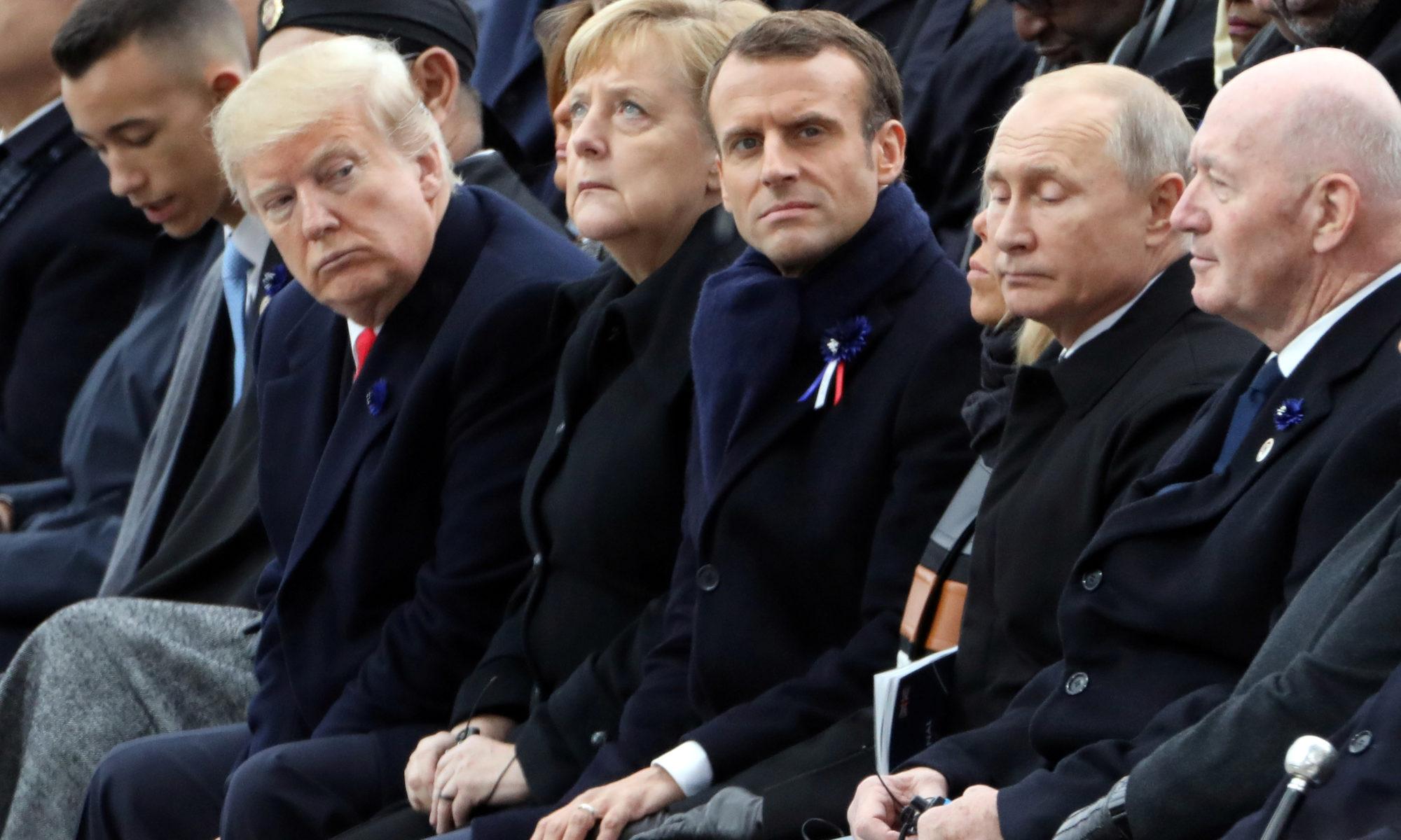 Президент США Дональд Трамп, федеральна канцлерка Німеччини Ангела Меркель, президент Франції Емманюель Макрон, президент Російської Федерації Володимир Путін AFP