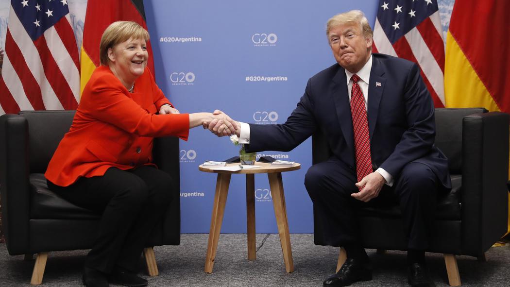 Зустріч федеральної канцлерки Німеччини Ангели Меркель і президента США Дональда Трампа  Pablo Martinez Monsivais / AP