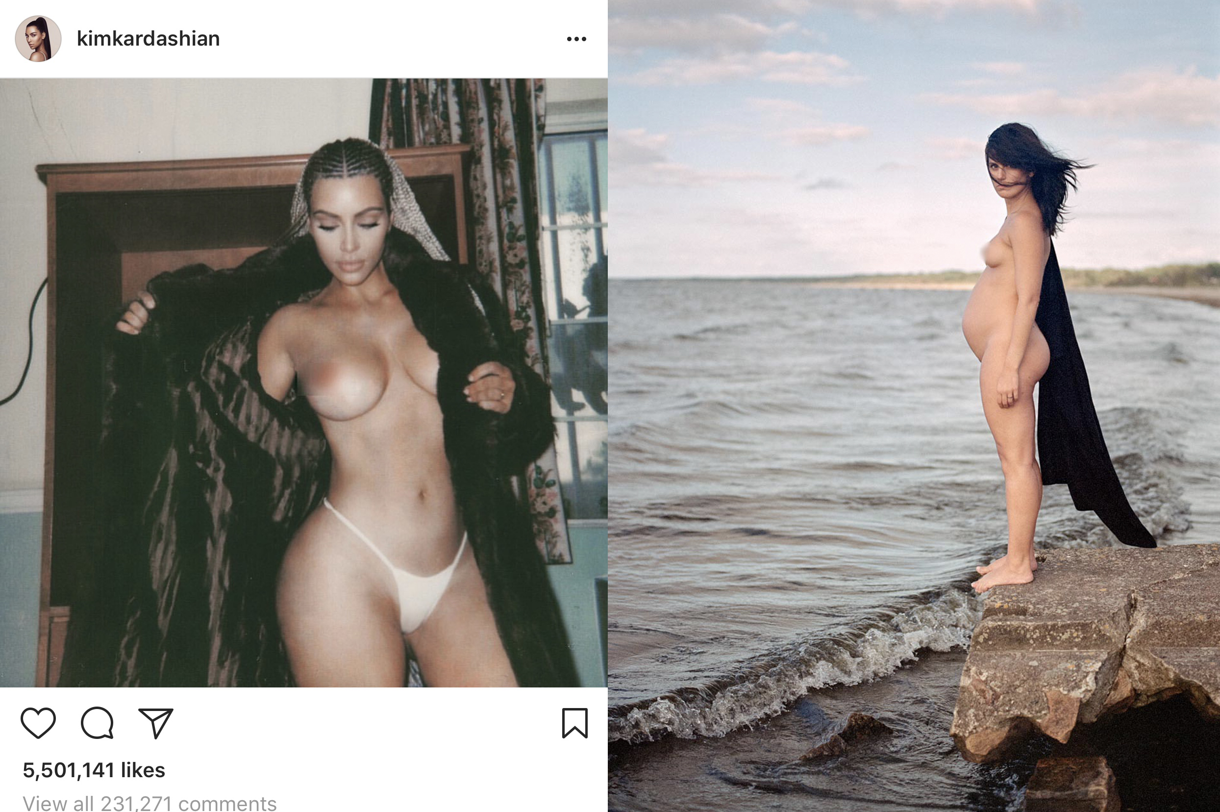 The image on the left is from Kim Kardashian's Instagram account and allowed to remain, the photo on the right caused Adey's account to be removed.