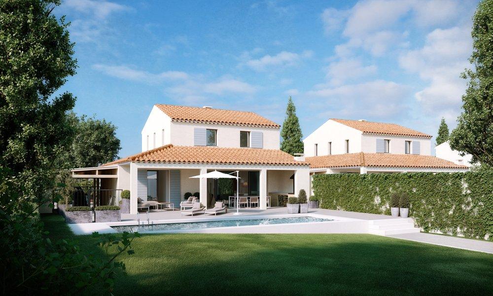 12 villa's met eigen zwembad op een prachtig domein, vlakbij een meer, speelplein en de lokale bakker.  Inmiddels reeds 7 verkocht.