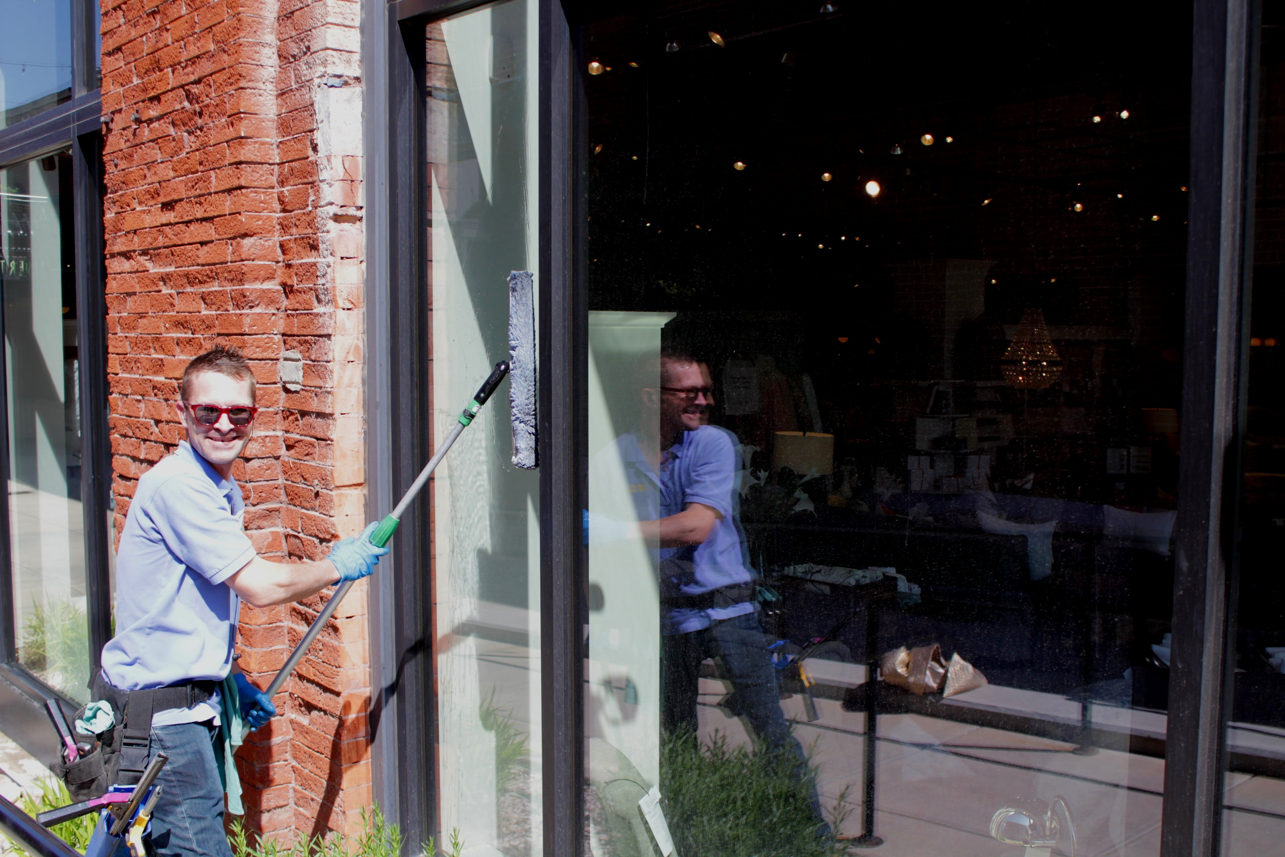 CD, one of our great window cleaners, hard at work.