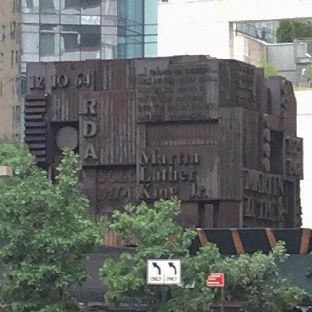 I wonder if this #nyc #mlkjr sculpture is from the same artist as the #worldpeace #sculpture I saw in Arkansas.  #publicart #art #bigsculpture #manhattan #martinlutherkingmemorial #upperwestside
