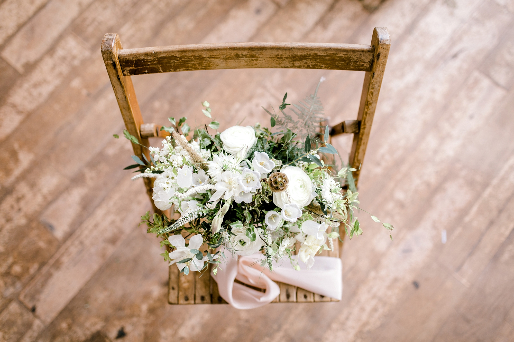 Meadow inspired neutral colour palette bridal bouquet