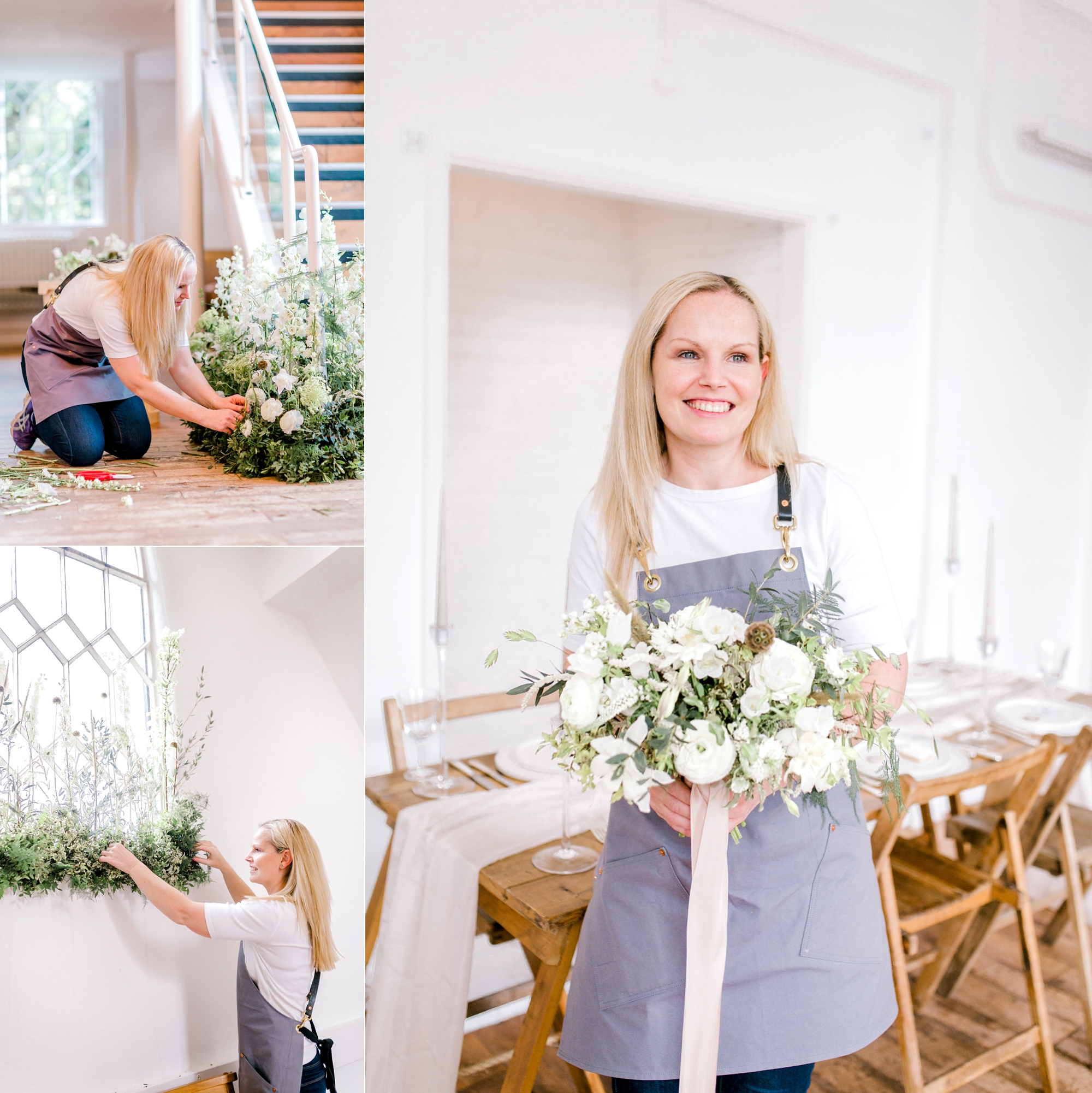 Alana from Petal and Wild wedding florist installing elegant meadow florals at Essex styled shoot