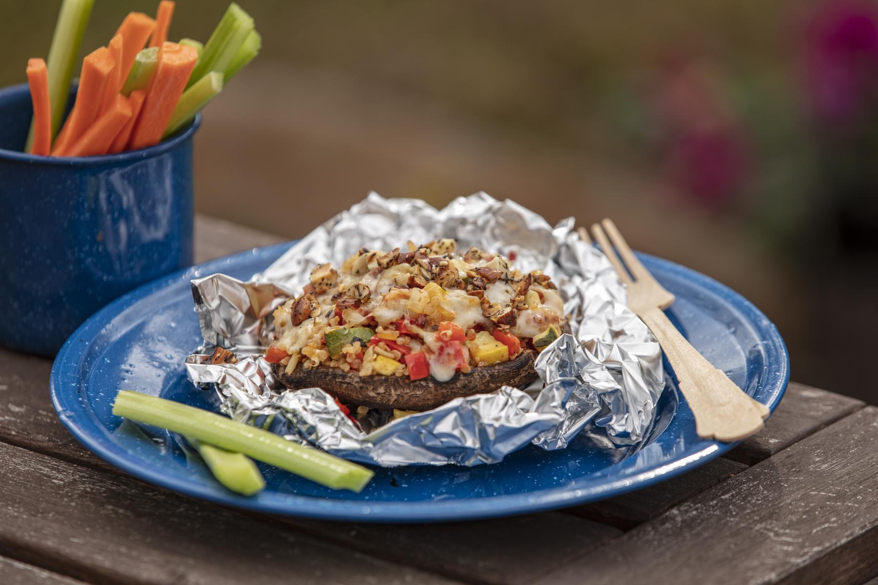 Veggie Sun-Dried Tomato and Nut Stuffed Portobello Mushrooms -
