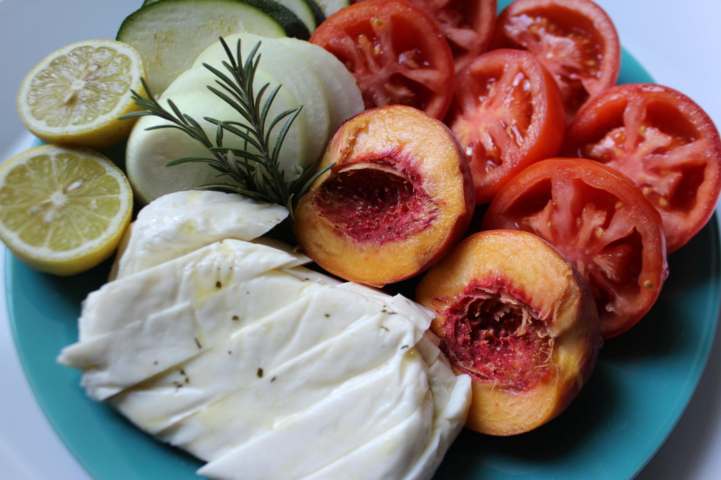 Haloumi, Peaches, Lemons, Tomatoes, Onion, Zucchini