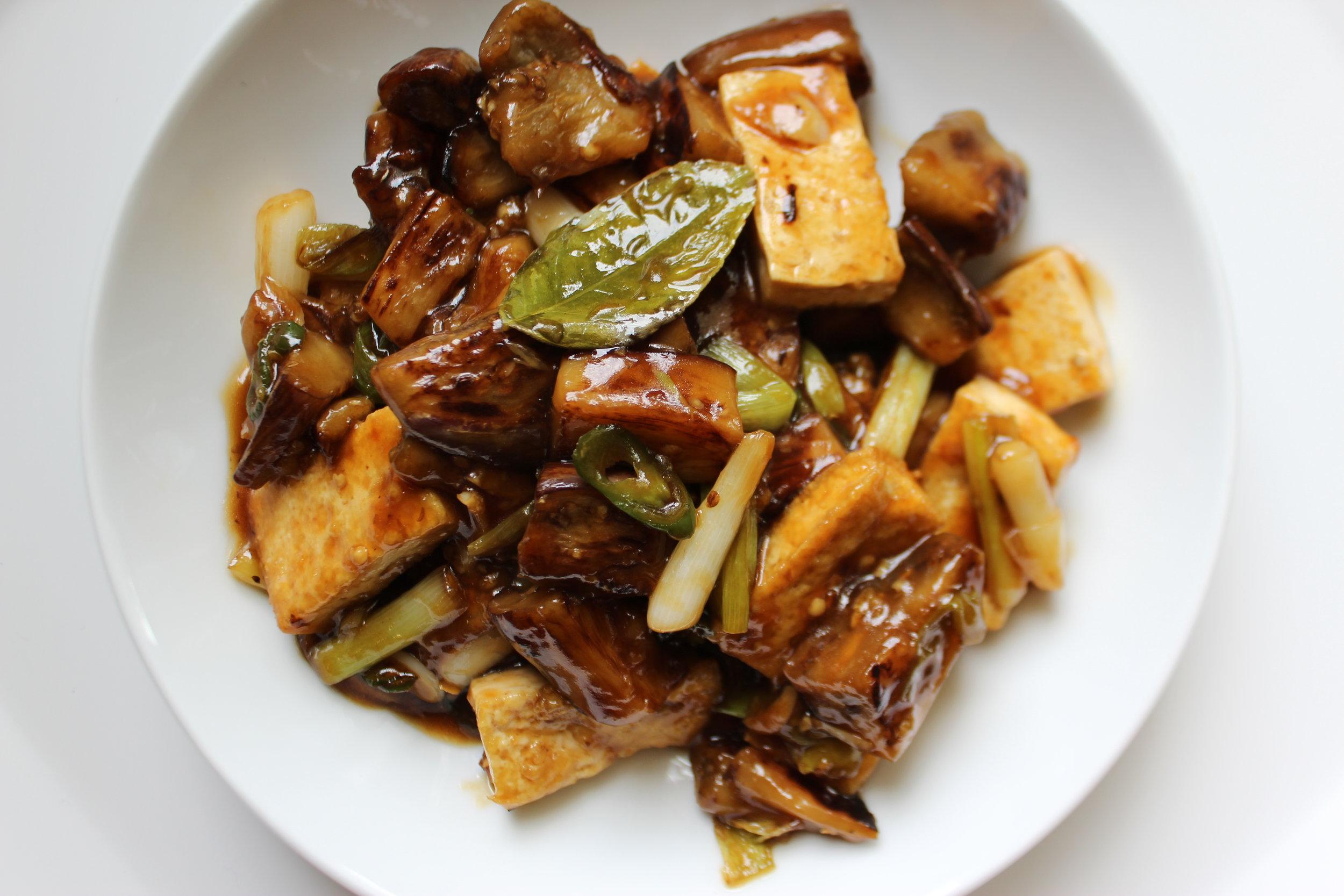 Fried Eggplant and Tofu with Garlic Kaffir Lime Leaf Sace