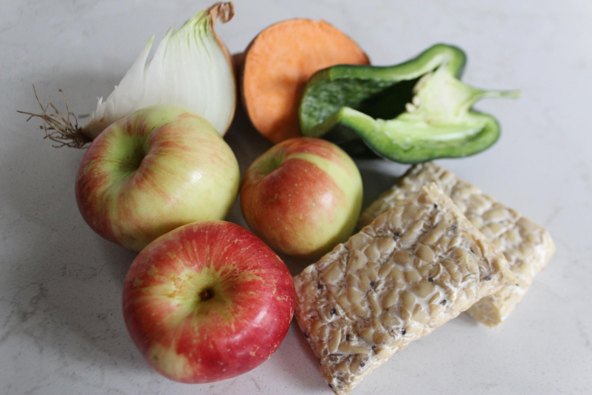 Apples, Tempeh, Poblano, Sweet Potato, Onion