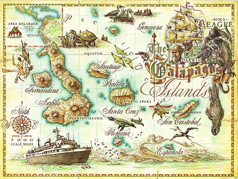 Galapagos mapa antiguo