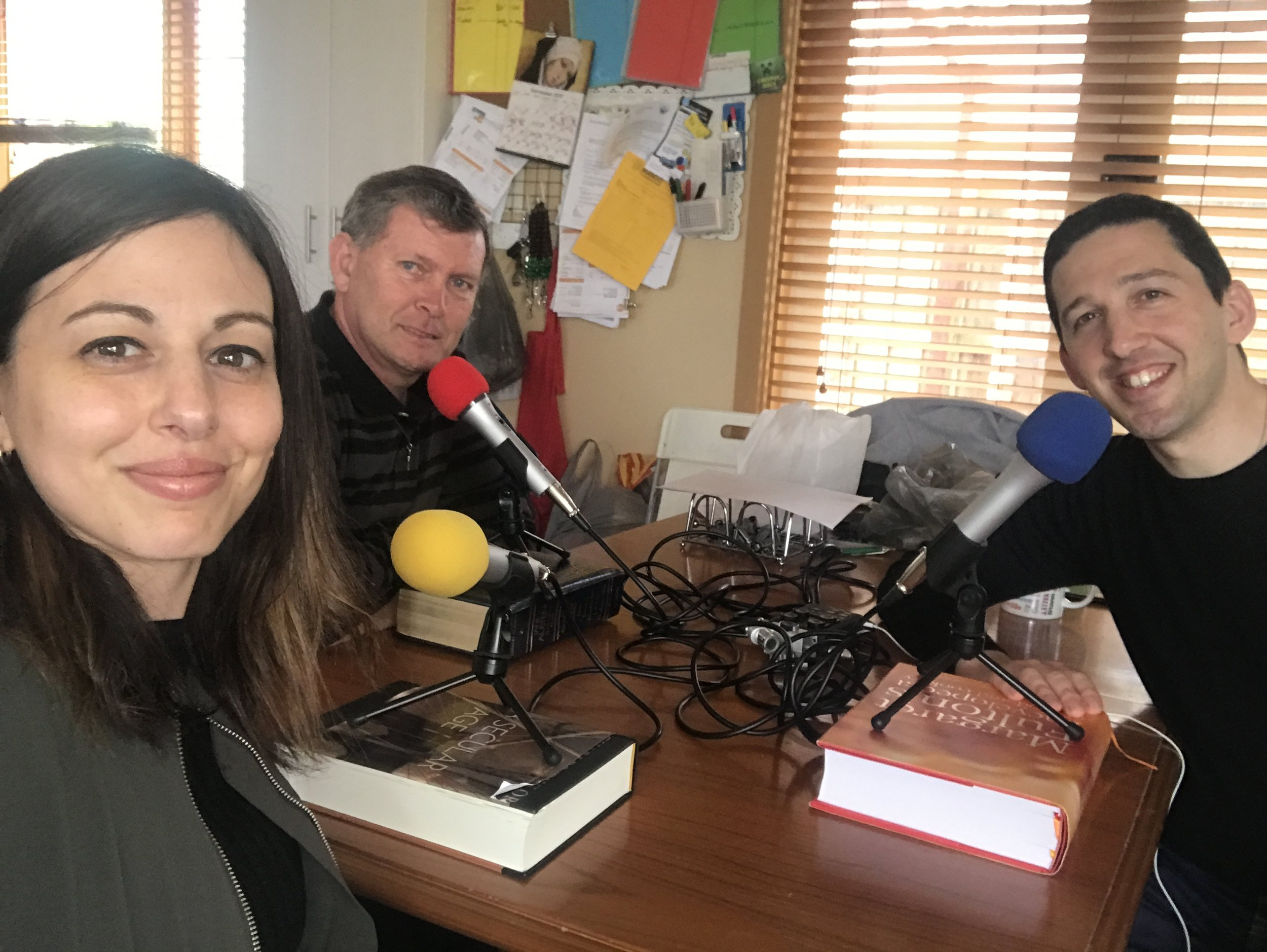 """Doing my first podcast ever! With my nephew Lindsay and Caroline my niece. You can download the podcast from iTunes under the name of """"What the Faith"""". It is a series of podcasts that they do on regular bases and they are already in 45 podcasts."""