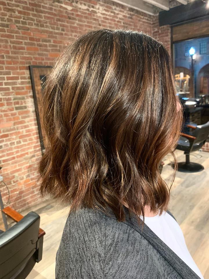 Textured bob with a deepened root, balayage highlights and toned to a double espresso, caramel macchiato.jpg