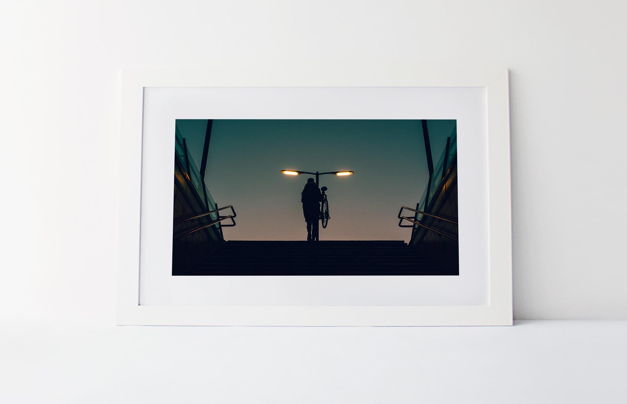 Bike at dawn  40cm x 60cm print Frame included