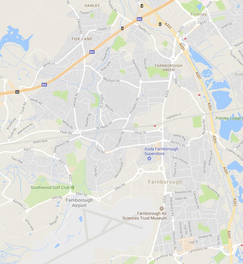 Map of Farnborough