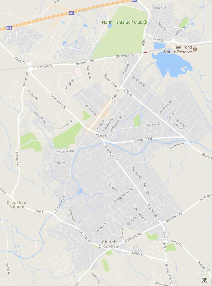Fleet & Church Crookham map