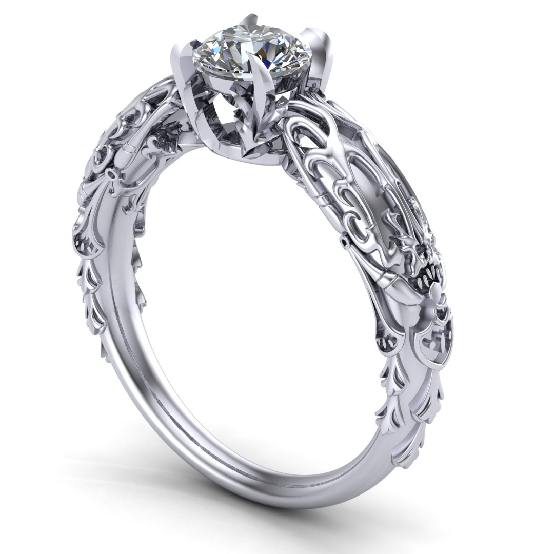 Custom Kan-E-Senna Final Fantasy inspired engagement ring in 14K white gold with a 0.50 ct diamond center stone