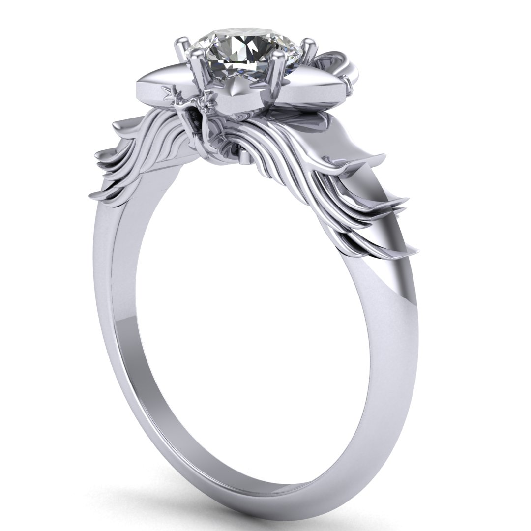 Custom Kingdom Hearts inspired Paopu Fruit engagement ring, made in 14K white gold with a 0.50 ct round diamond center stone
