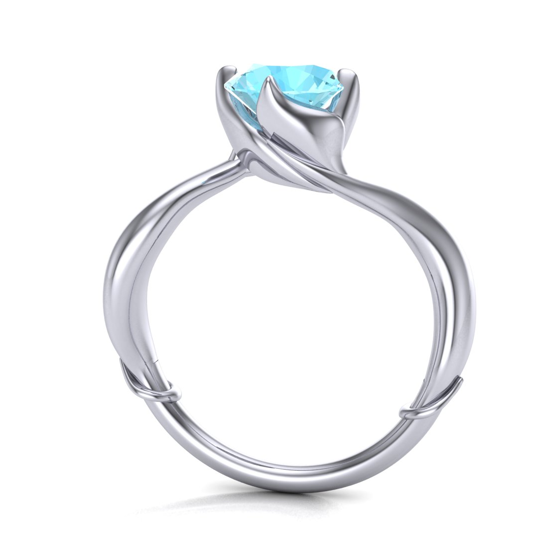 Custom Little Mermaid inspired engagement ring, made in 14K white gold with a 1.20 ct aquamarine center stone