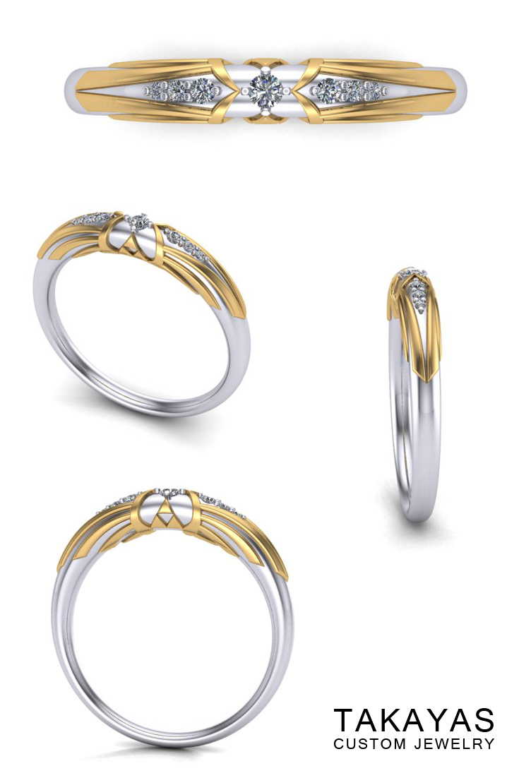 14K white gold Zelda ladies triforce wedding band with 14K yellow gold and diamond accents