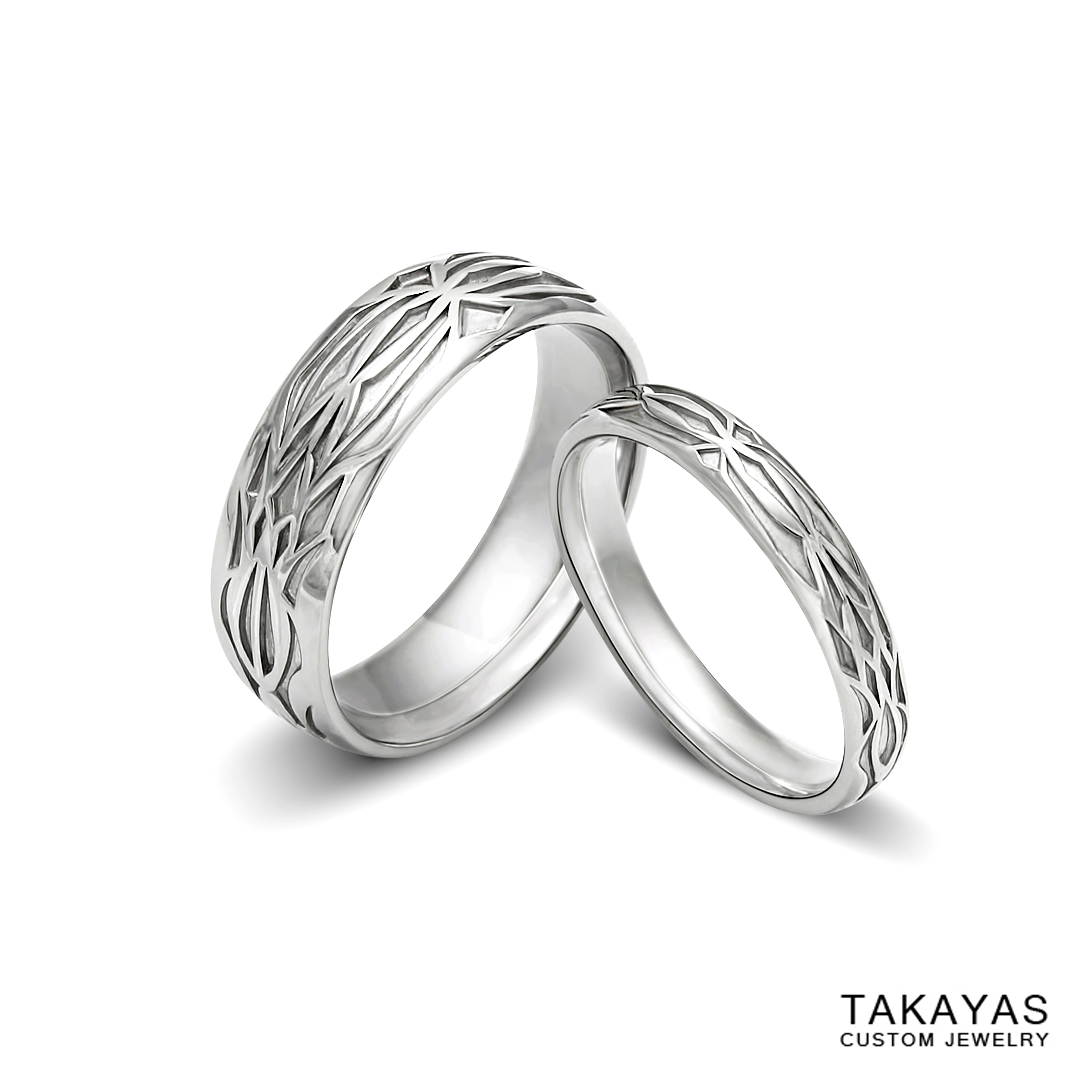 Platinum his and her Diablo 3 wedding bands by Takayas Custom Jewelry