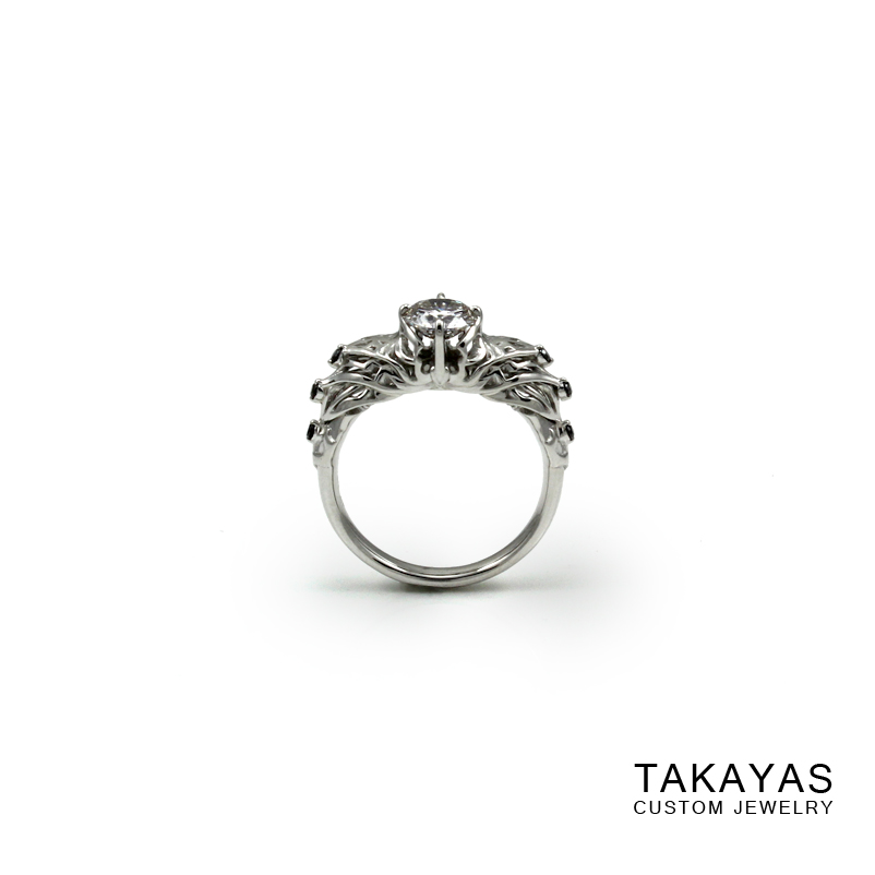Diablo 3 demon hunter engagement ring front view by Takayas Custom Jewelry