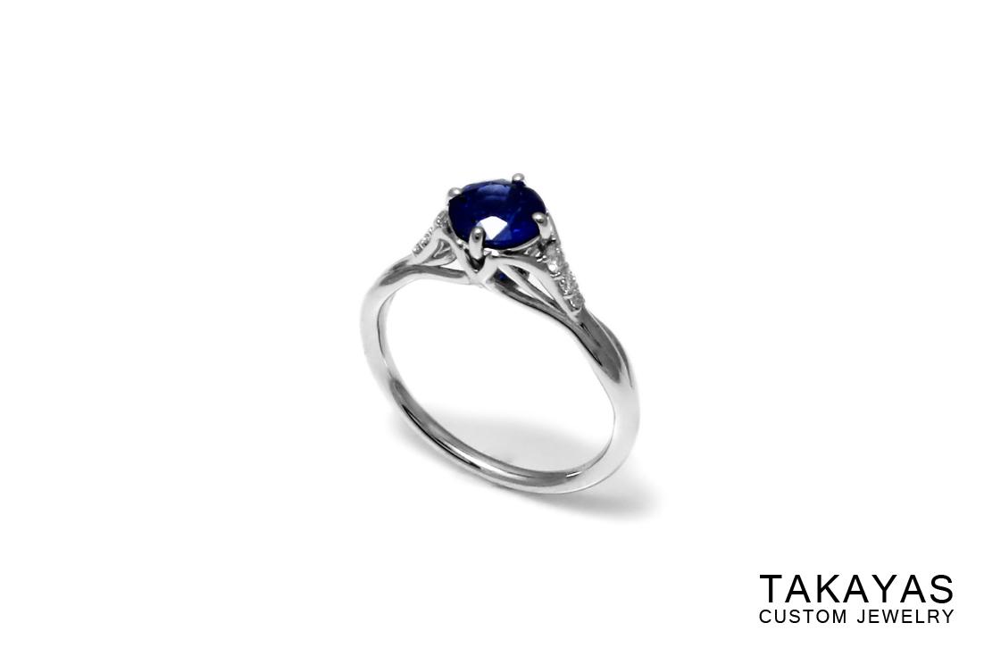 Sapphire Leaf Ring Side Takayas Custom Jewelry