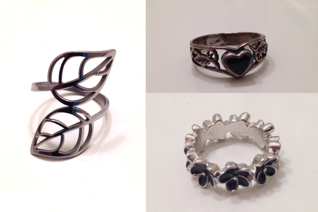 collage of sample rings martin