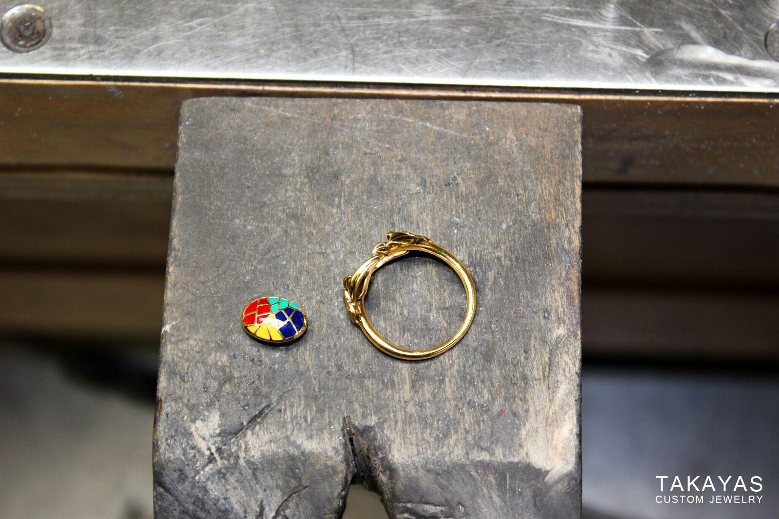 enamel engagement ring finished pieces Takayas Custom Jewelry