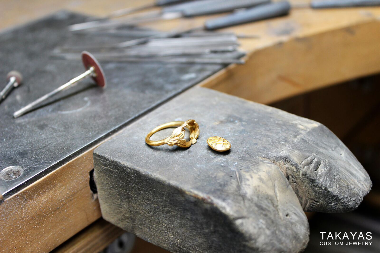 enamel engagement ring pieces Takayas Custom Jewelry