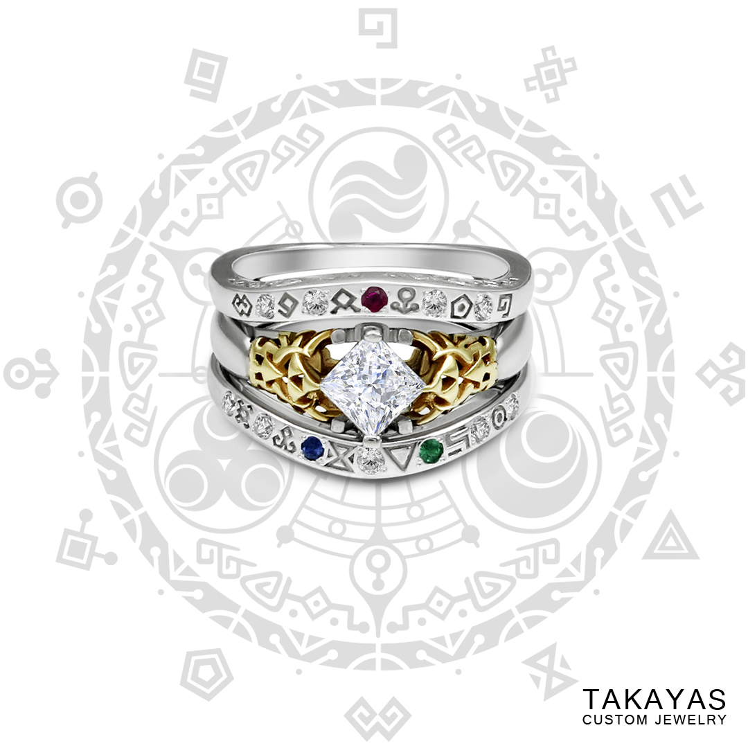 Legend of Zelda diamond engagement ring and Gate of Time jacket enhance by Takayas Custom Jewelry
