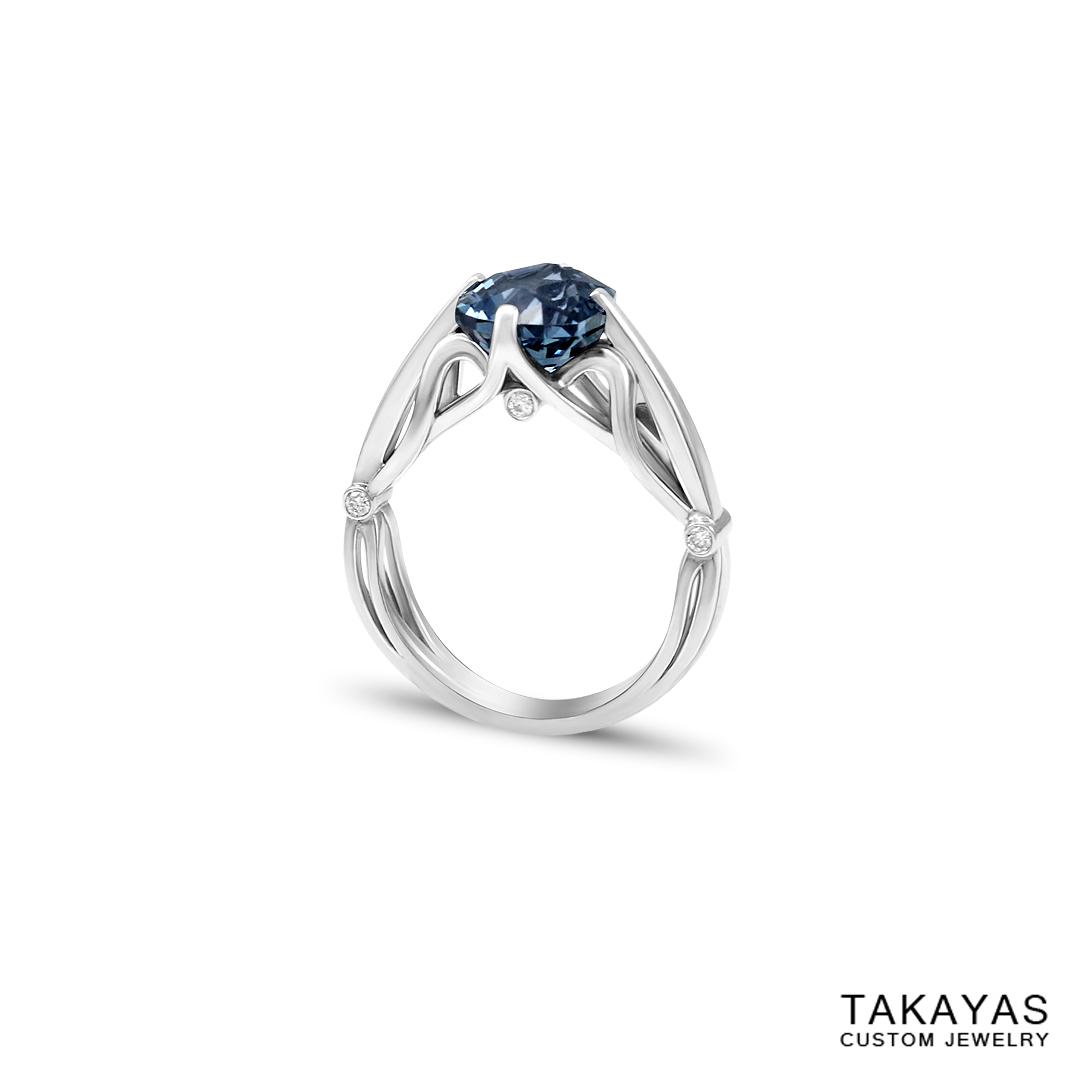 Custom Platinum Montana Sapphire Anniversary Ring | Takayas