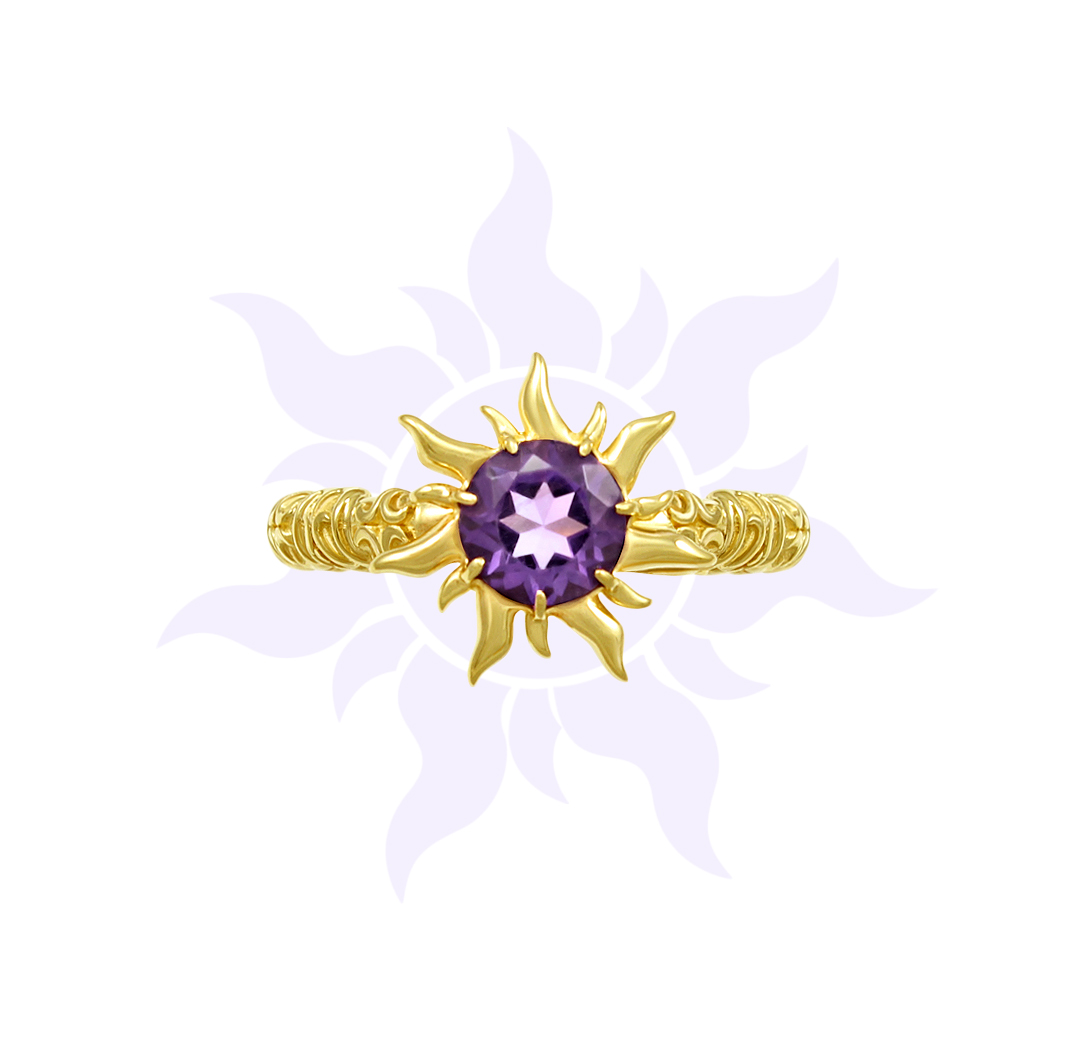 Tangled Inspired Amethyst Sun Engagement Ring | Takayas Custom Jewelry