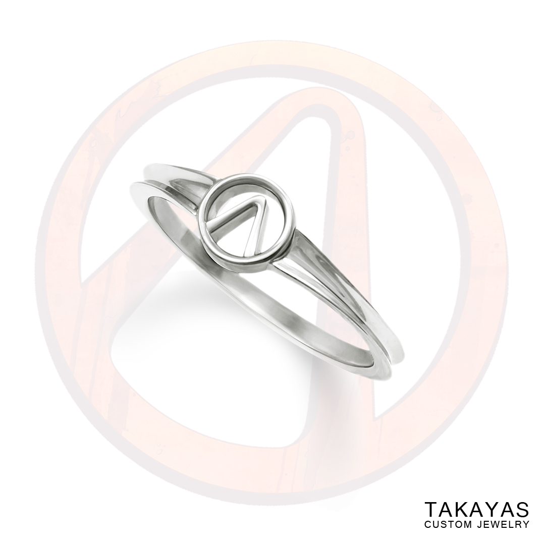 14K gold Borderlands Vault symbol ladies ring by Takayas Custom Jewelry