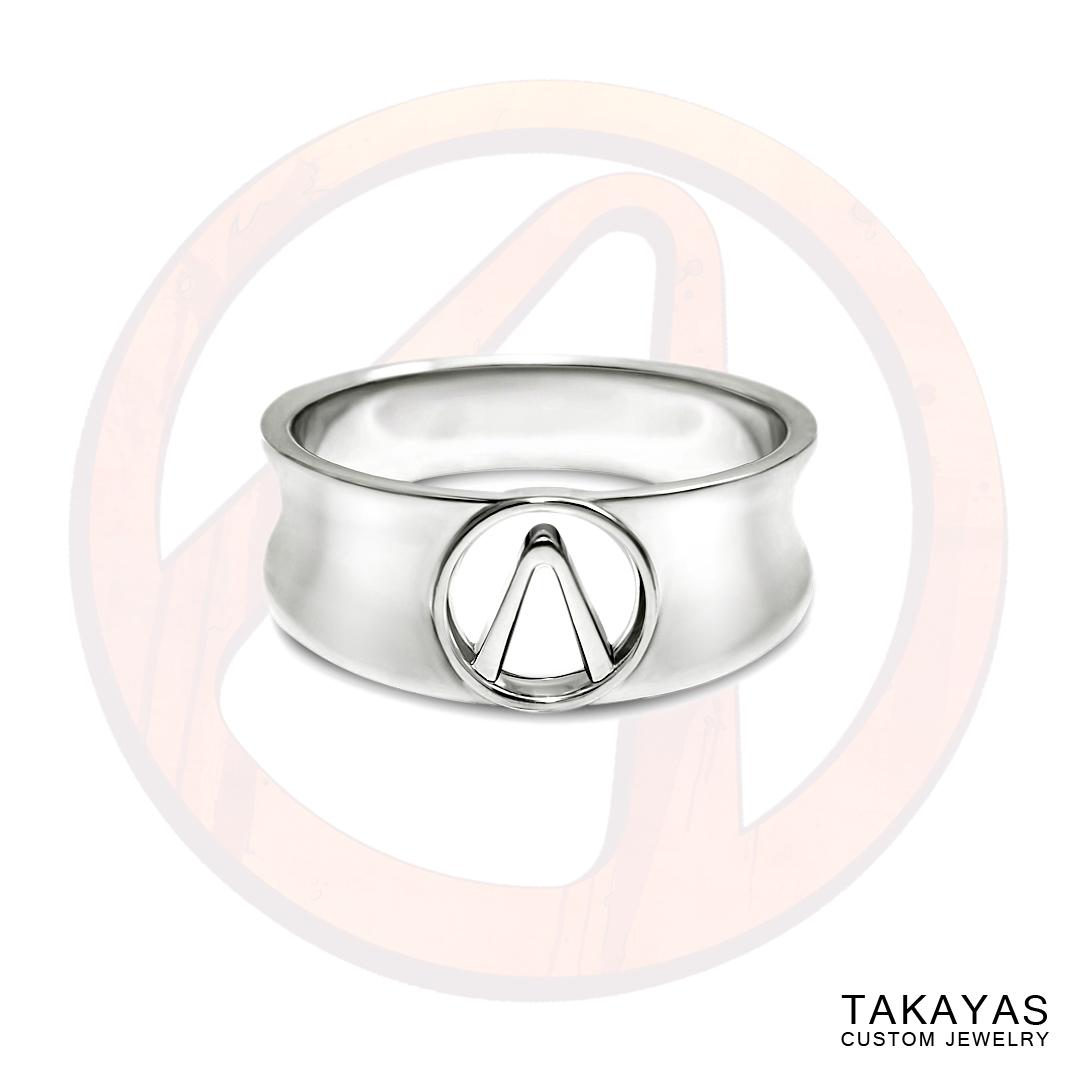 14K gold Borderlands Vault symbol mens ring by Takayas Custom Jewelry