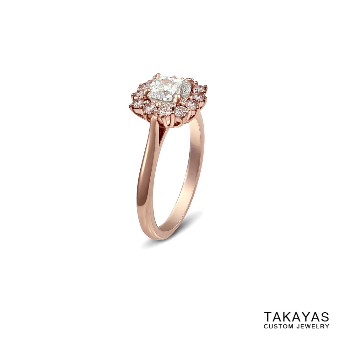 Takayas Custom Jewelry cushion cut diamond ring with natural pink diamond accents