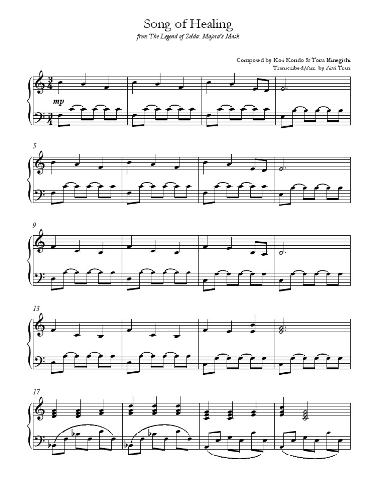 song-of-healing-sheet-music