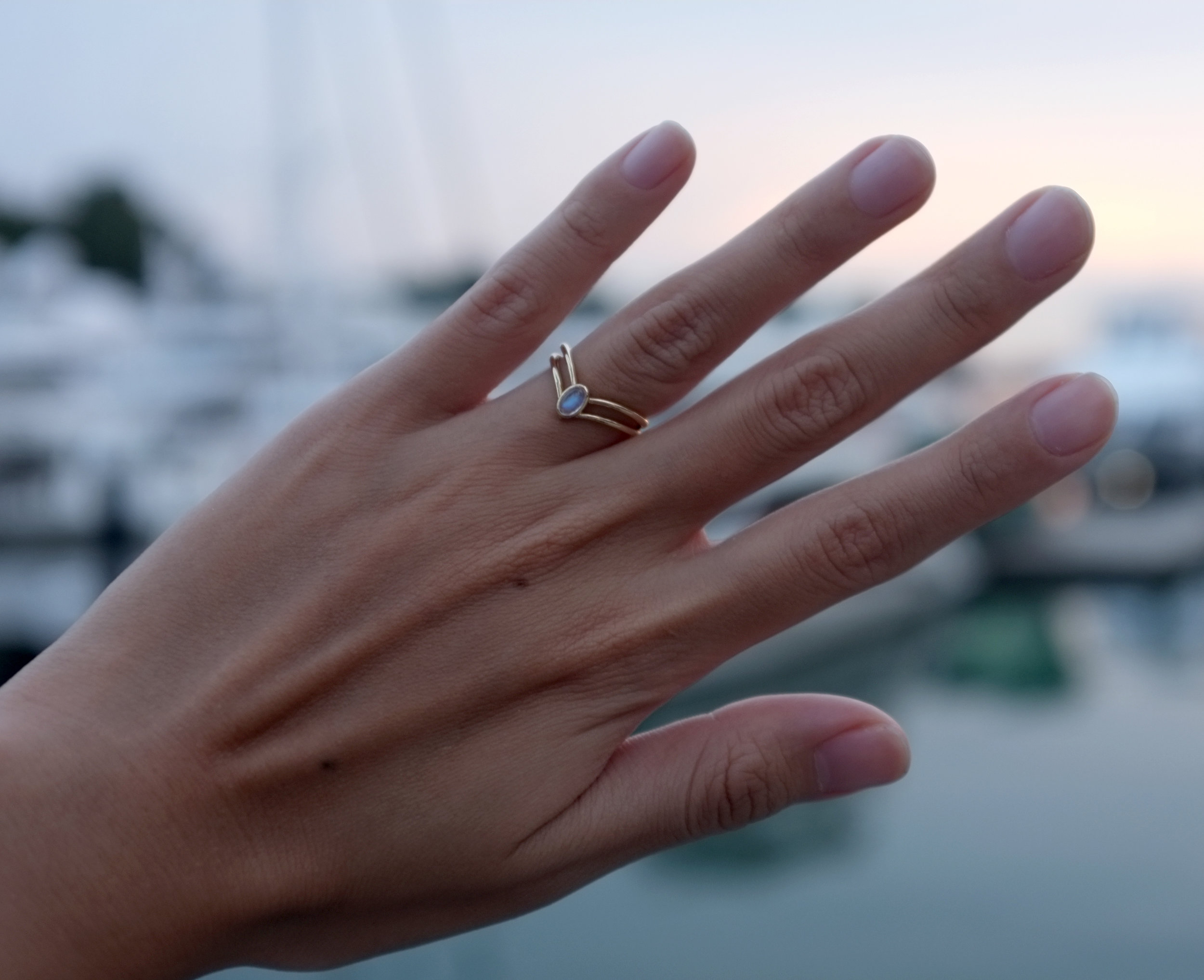 Joni wearing her custom Sailor Saturn engagement ring