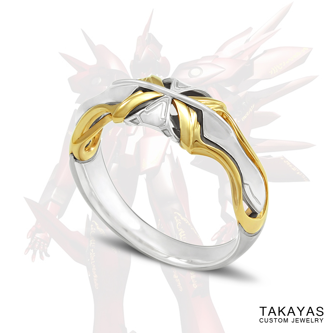 Anime mech wedding ring inspired by the video game Xenogears