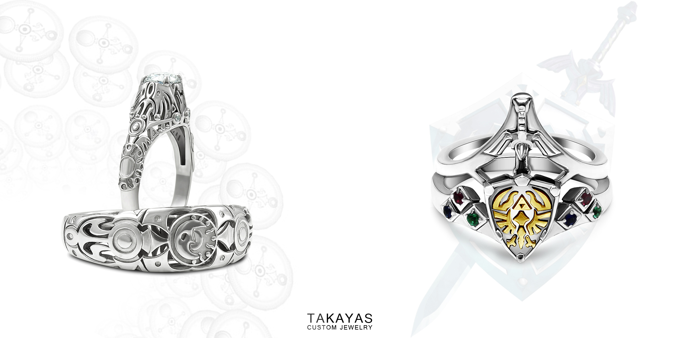 Custom Majora's Mask clocktower wedding ring set and Hylian Shield and Sword ring set by Takayas Custom Jewelry